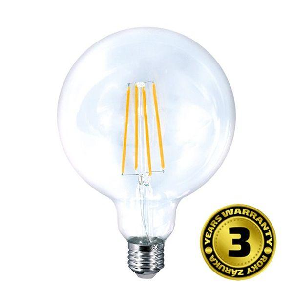 Retro LED žárovka E27 8W 810lm G125 teplá, filament, ekvivalent 60W
