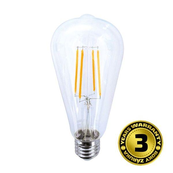 Retro LED žárovka E27 8W 810lm teplá, filament, ekvivalent 60W