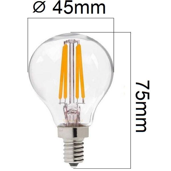 Retro LED žárovka E14 4W 440lm G45 teplá, filament, ekvivalent 40W