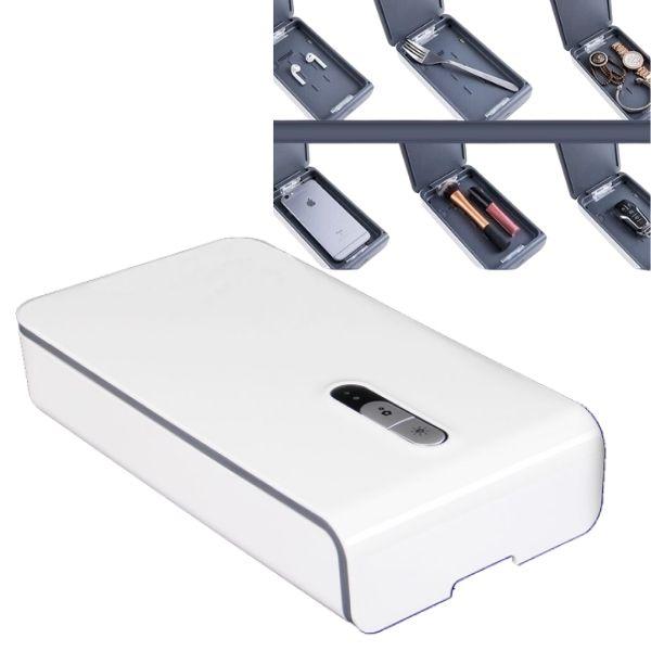 Univerzální UVC sterilizační box bílý, bezdrátové nabíjení telefonu
