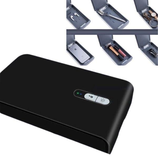 Univerzální UVC sterilizační box černý, bezdrátové nabíjení telefonu