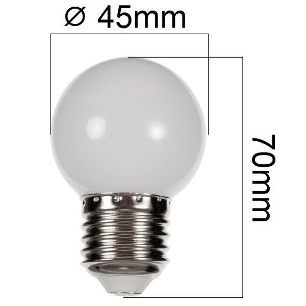 Barevná LED žárovka E27 1W bílá