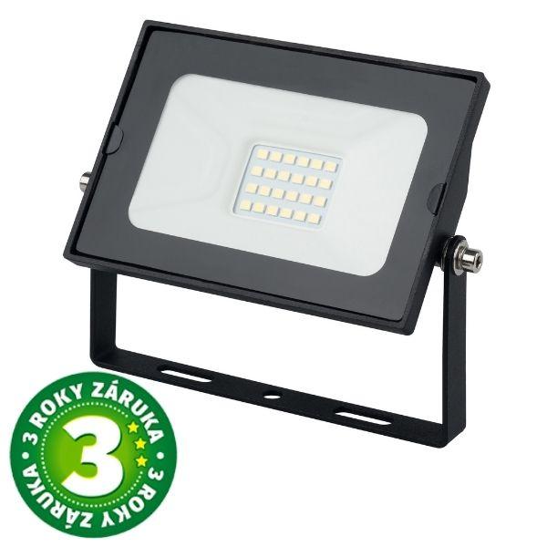 Prémiový ultratenký LED reflektor černý 20W 1600lm, denní, 3 roky