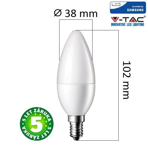 Prémiová LED žárovka E14 SAMSUNG čipy 7W 600lm, studená, 5 let
