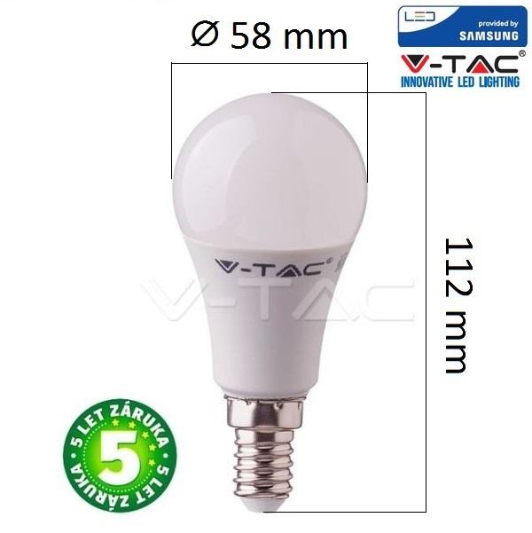Prémiová LED žárovka E14 SAMSUNG čipy 9W 806lm teplá, 5 let