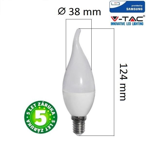 Prémiová  LED žárovka E14 SAMSUNG čipy 5,5W 470lm teplá