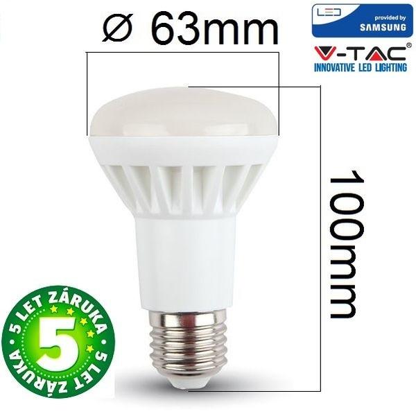 Prémiová LED žárovka E27 SAMSUNG čipy 8W 600lm R63 teplá, 5 let