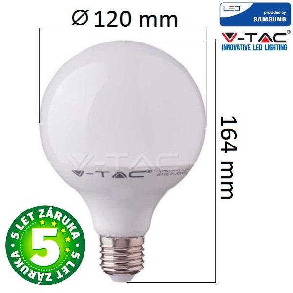 Prémiová LED žárovka E27 SAMSUNG čipy 17W 1521lm G120 teplá, 5 let