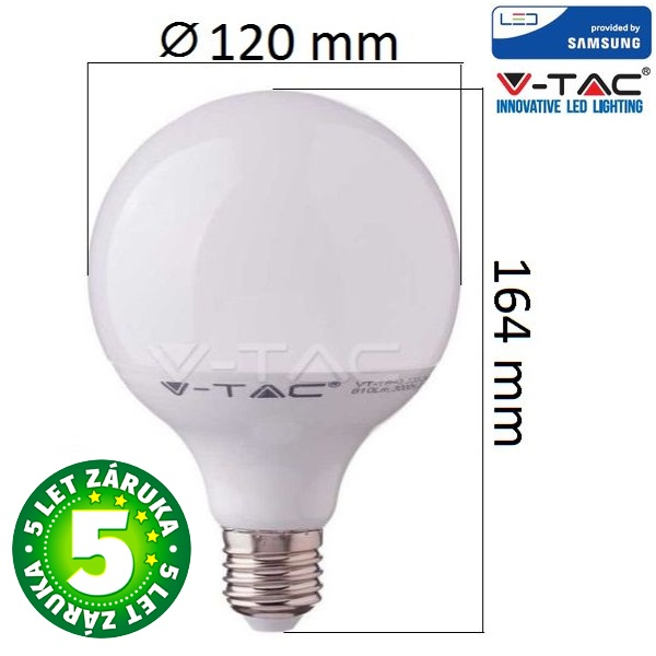 Prémiová LED žárovka E27 SAMSUNG čipy 17W 1521lm G120 teplá