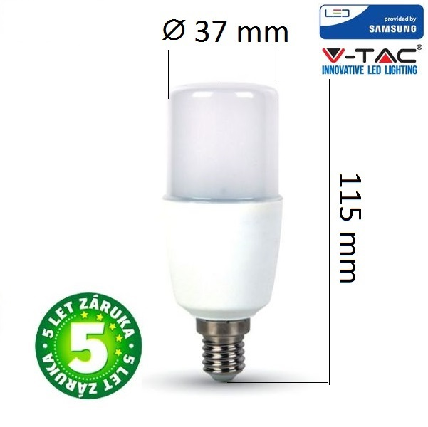 Prémiová LED žárovka E14 SAMSUNG čipy 8W 725lm teplá