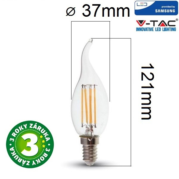 Prémiová retro LED žárovka E14 SAMSUNG čipy 4W 400lm teplá, filament, 3 roky
