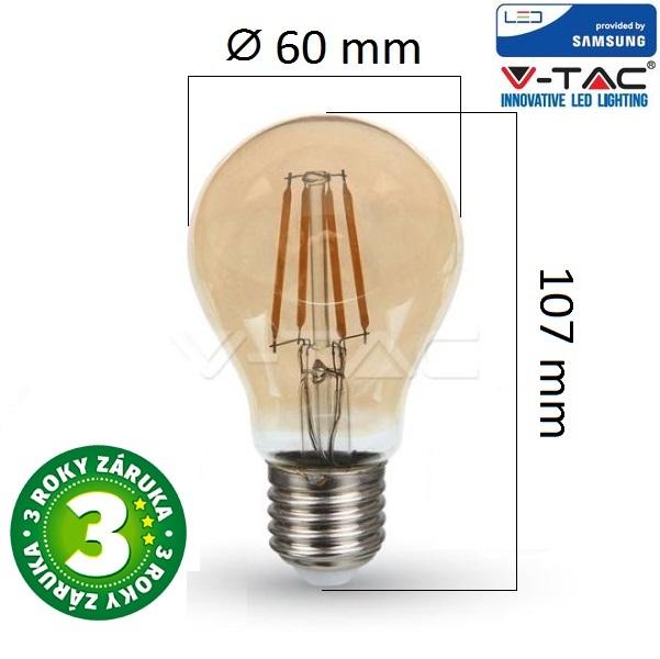 Prémiová  retro LED žárovka E27 SAMSUNG čipy 4W 350lm extra teplá, filament, 3 roky
