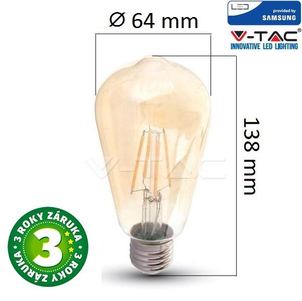 Prémiová retro LED žárovka E27 SAMSUNG čipy 6W 725lm extra teplá, filament
