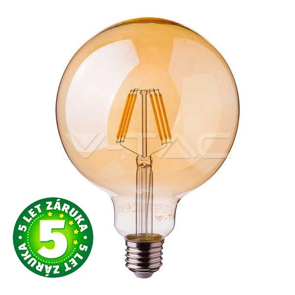 Prémiová retro LED žárovka E27 SAMSUNG čipy 6W 725lm G95 teplá, filament