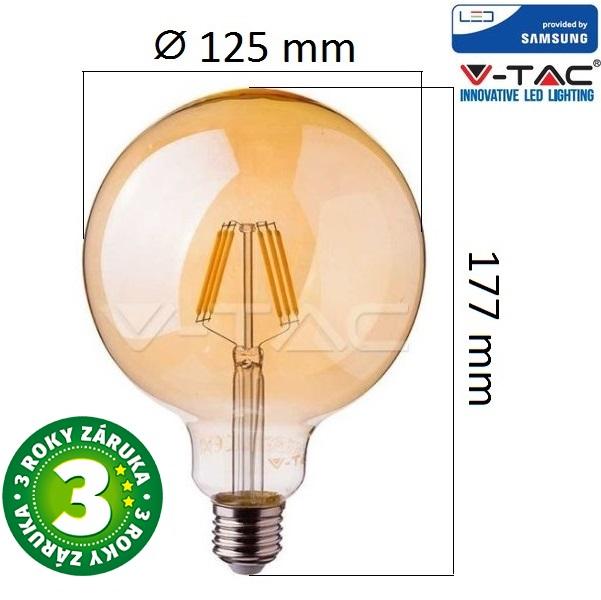 Prémiová retro LED žárovka E27 SAMSUNG čipy 6W 725lm G125 extra teplá, filament, 3 roky