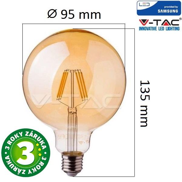 Prémiová retro LED žárovka E27 SAMSUNG čipy 6W 725lm G95 extra teplá, filament