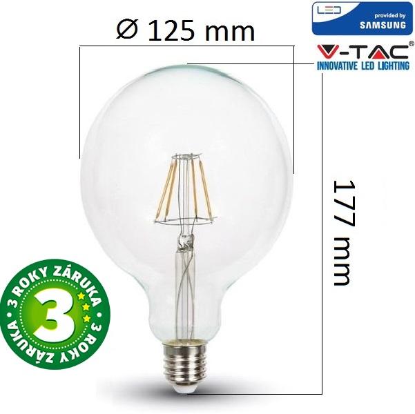 Prémiová retro LED žárovka E27 SAMSUNG čipy 6W 806lm G125 teplá, filament, 3 roky
