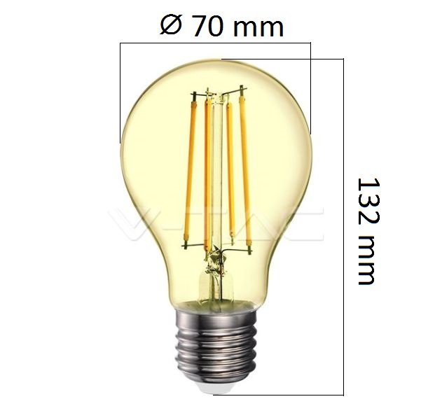 Retro LED žárovka E27 12,5W 1240lm extra teplá, filament, ekvivalent 85W