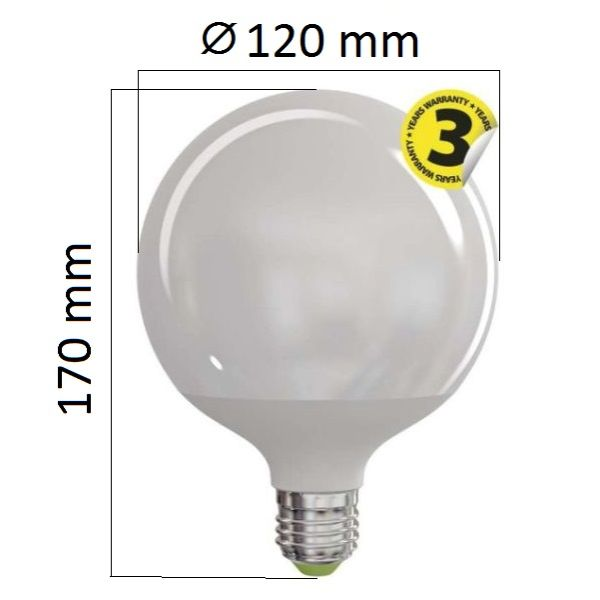 LED žárovka E27 18W 1521lm G120 teplá, ekvivalent 100W