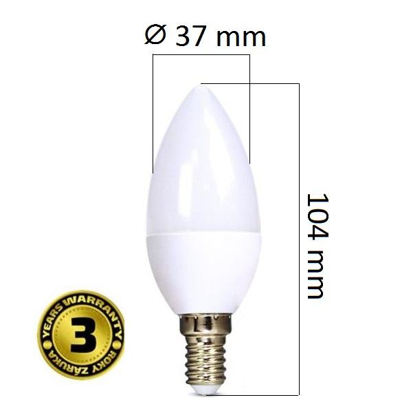 LED žárovka E14 6W 450lm teplá, 3 roky