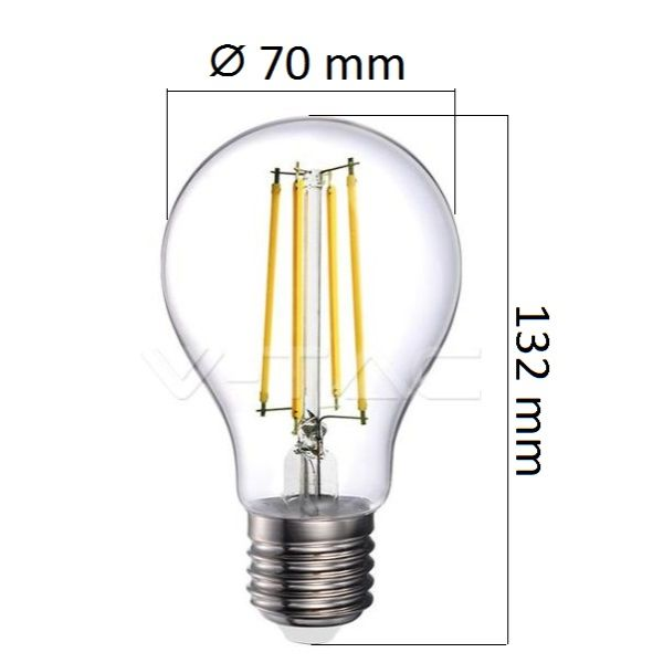 Retro LED žárovka E27 12,5W 1550lm teplá, filament, ekvivalent 100W