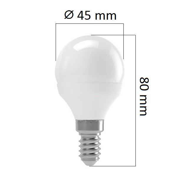 LED žárovka E14 8W 700lm G45 teplá,  ekvivalent 54W