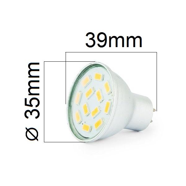 LED žárovka MR11 3W 300lm 3,5cm 12V studená, ekvivalent 30W