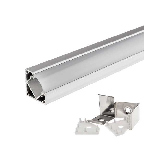 Rohový hliníkový profil pro 8mm a 10mm LED pásky 1m mléčný kryt