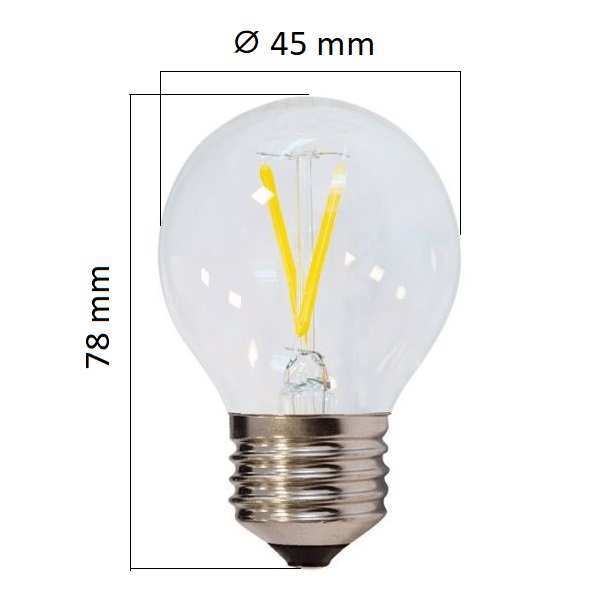 Retro LED žárovka E27  2W 200lm G45 denní, filament, ekvivalent 13W