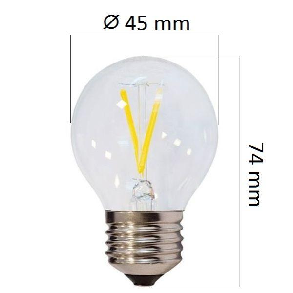 Retro LED žárovka E27  4W 400lm G45 teplá, filament, ekvivalent 32W