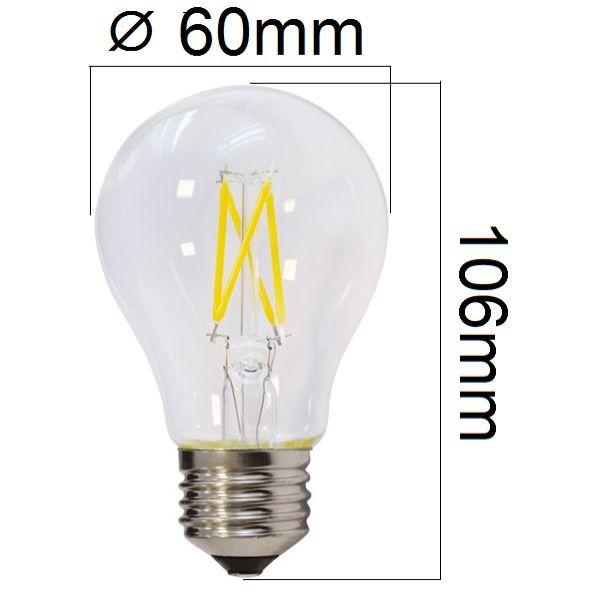 Retro LED žárovka E27 6,5W 810lm teplá, filament, ekvivalent 50W