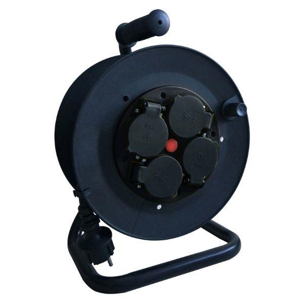 SCHUKO prodlužovací kabel na bubnu – 4 zásuvky, 25m, 3G1.5, IP44
