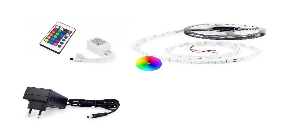 Set: RGB led pásek 7,2W/m + ovladač RGB pásku (24 tlačítek) + zdroj 36W