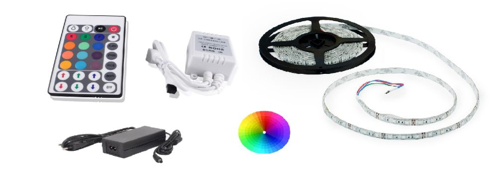 Set: RGB led pásek 7,2W/m + ovladač (28 tlačítek) + zdroj 60W