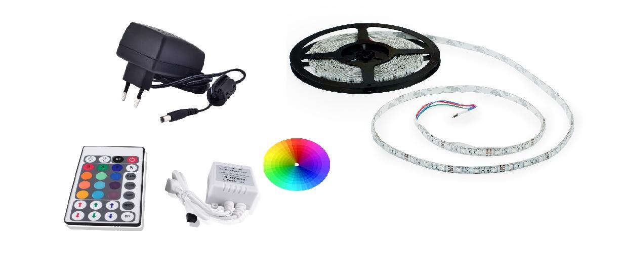 Set: RGB led pásek 4,8W/m IP68 + ovladač RGB pásku (28 tlačítek) + zdroj 24W