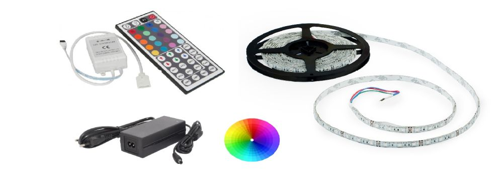 Set: RGB led pásek 7,2W/m + ovladač (44 tlačítek) + zdroj 60W
