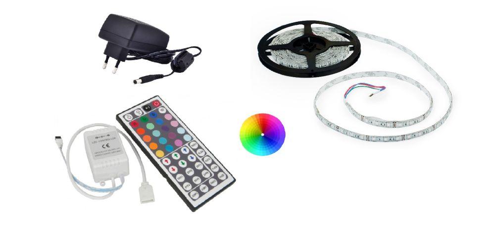 Set: RGB led pásek 7,2W/m + ovladač RGB pásku (44 tlačítek) + zdroj 36W
