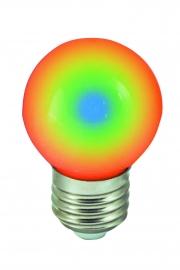 Vícebarevná LED žárovka E27 RGB 1W
