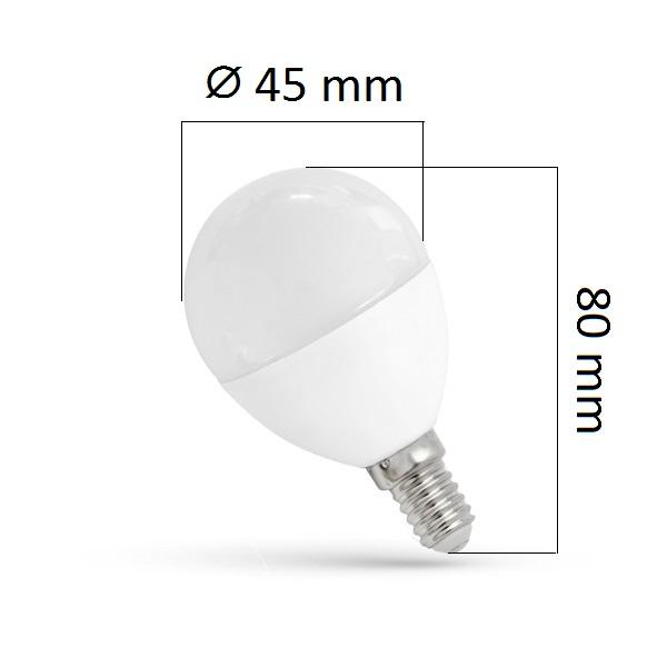 LED žárovka  E14 8W 620lm G45 teplá,  ekvivalent 50W